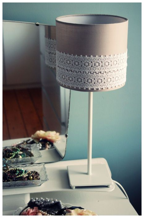 DIY Lace Lampshade - for the microscope lamp - burlap and lace.