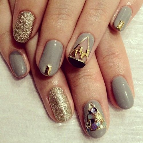 Grey & Gold Nails nail art / nail style / nail design