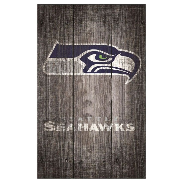 "NFL Seattle Seahawks Distressed Wood Logo 11"" x 19"" Sign - Gray"