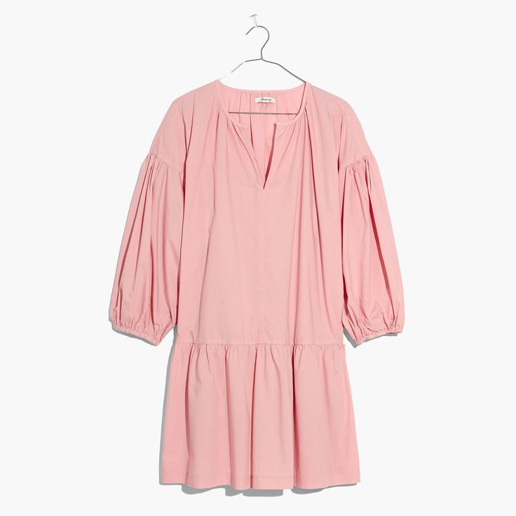 Madewell Womens Long-Sleeve Tunic Dress (Size L, Dark Petal)