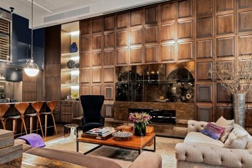 grown up bachelor pad. living room. modern