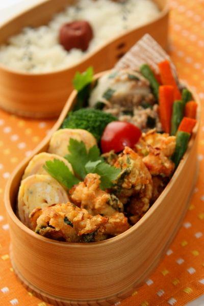 ささみと玉葱とアオサのかき揚げ弁当 : Linmal's Kitchen ~金沢の旬の味と毎日のお弁当