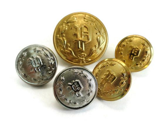 Monogram P Vintage Metal Buttons in Your Choice of Gold or Silver - Police Uniform Buttons for Jewelry Beads Sewing Knitting