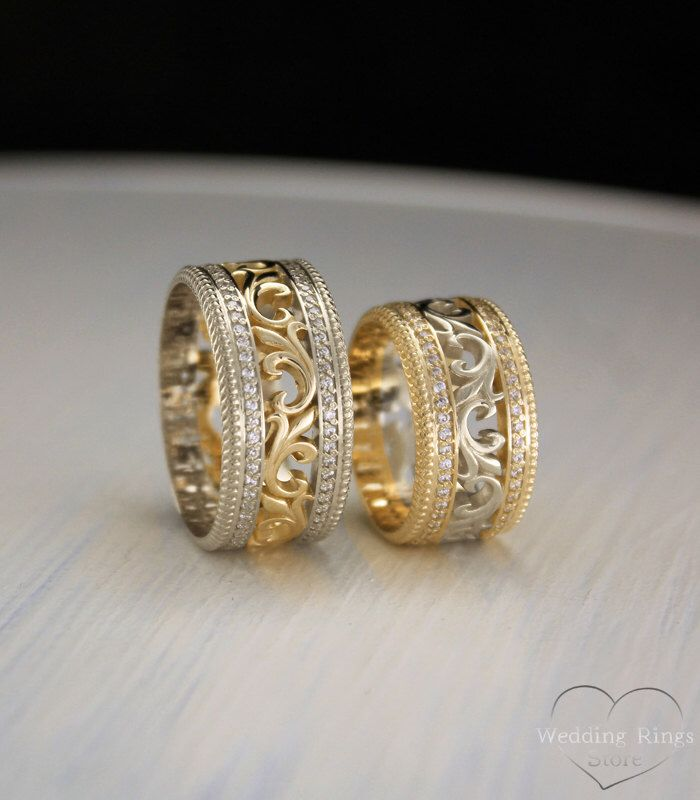 Vintage style two tone gold wedding bands, Unique matching wedding bands, Filigree wedding rings, Wedding bands set, Promise rings his hers
