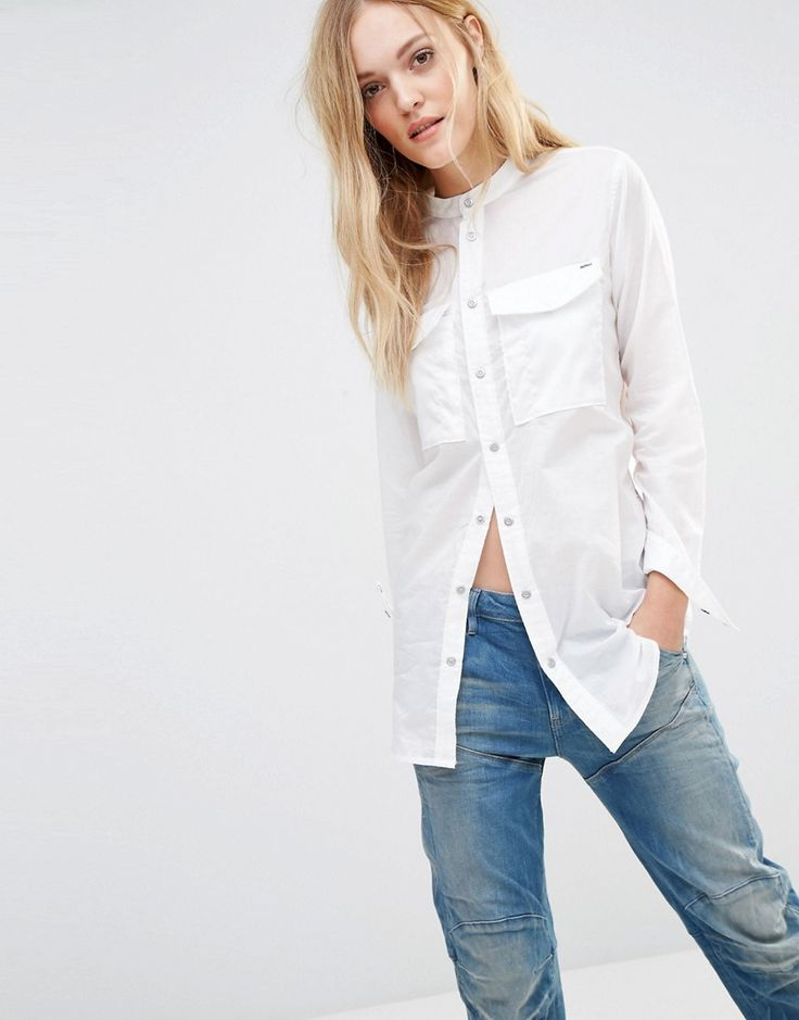Image 1 of G-Star Voden Boyfriend White Shirt With Utility Pockets