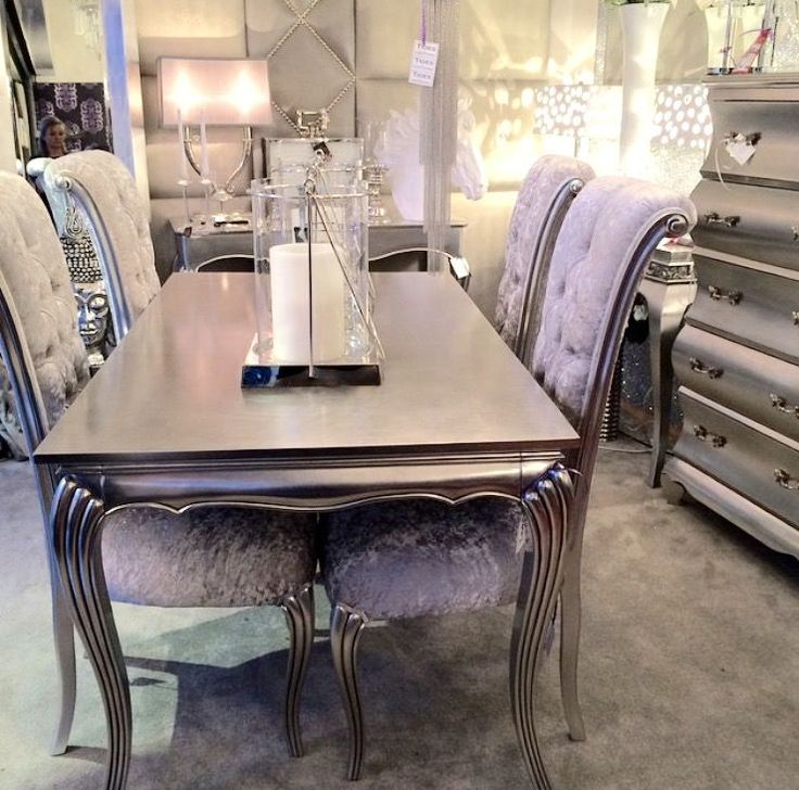 Glamour Silver Leaf Dining Table