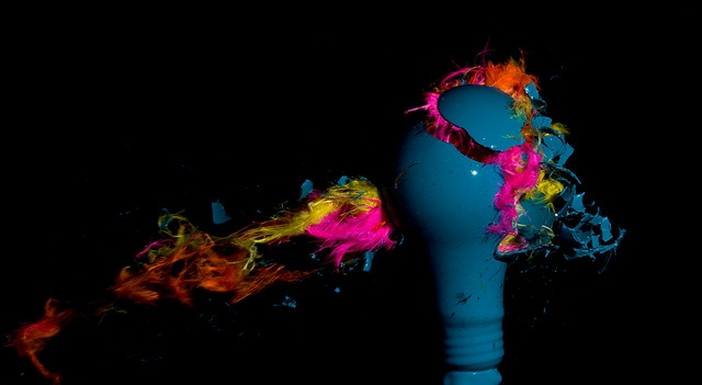 Feathers in Blue (Light bulb explosions)