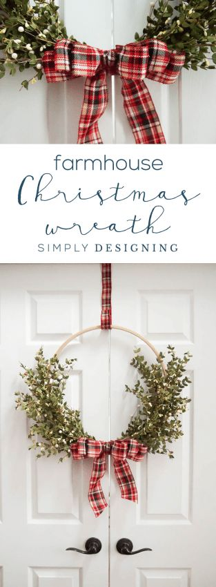 Farmhouse Christmas Wreath that is so easy to make and beautiful for a modern holiday decoration – Hoop Wreath – Christmas Hoop Wreath – Farmhouse Wreath #ad @HobbyLobby #HobbyLobbyMade #HobbyLobbyHoliday