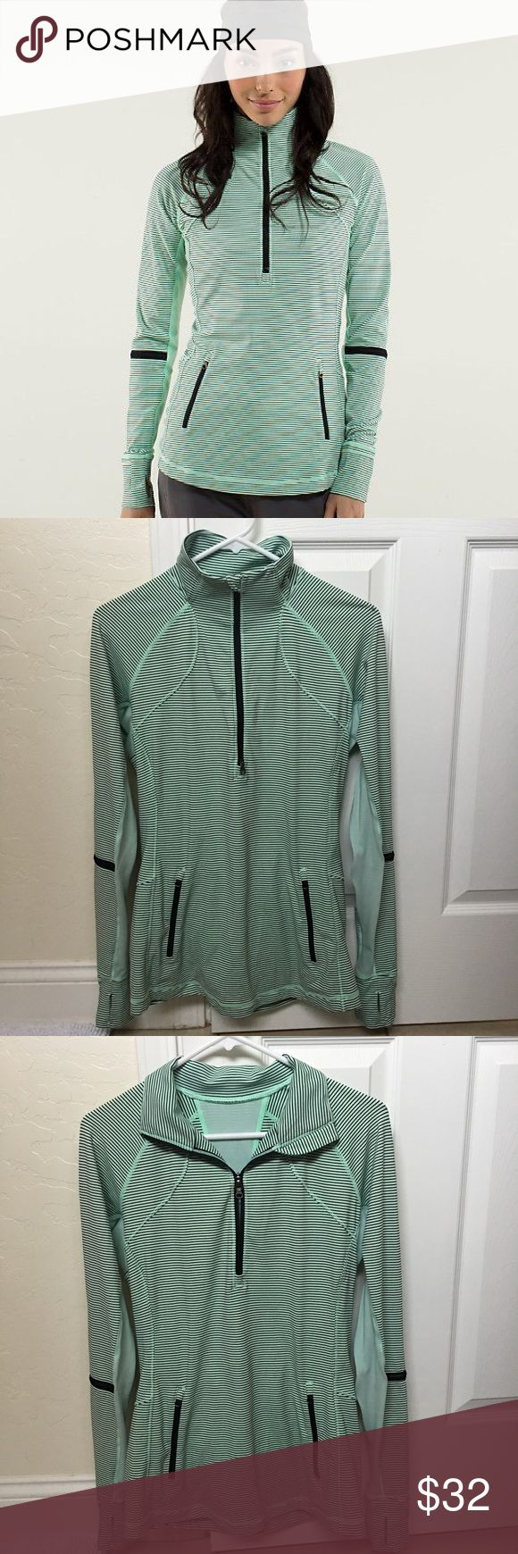 Lululemon Race with Grace half zip - fresh teal 10 Great used condition half zip in mini hyper stripe fresh teal pattern. All zippers working. Small ink pen stain on left shoulder, not too noticeable. Also a couple of minor pulls under the arms, as seen in photo. This top/jacket still looks great. I just want to describe any issues I can find. Price reflects. Size 10. lululemon athletica Tops Sweatshirts & Hoodies