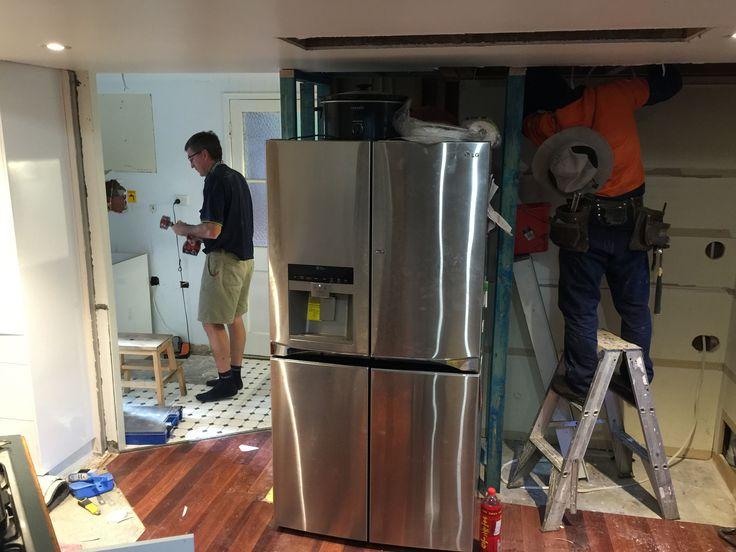 Builders, electricians, plumbers.. It's all happening!! #mynewkitchen #reno #kitchenreno #laundryreno #home #corporatemamahome