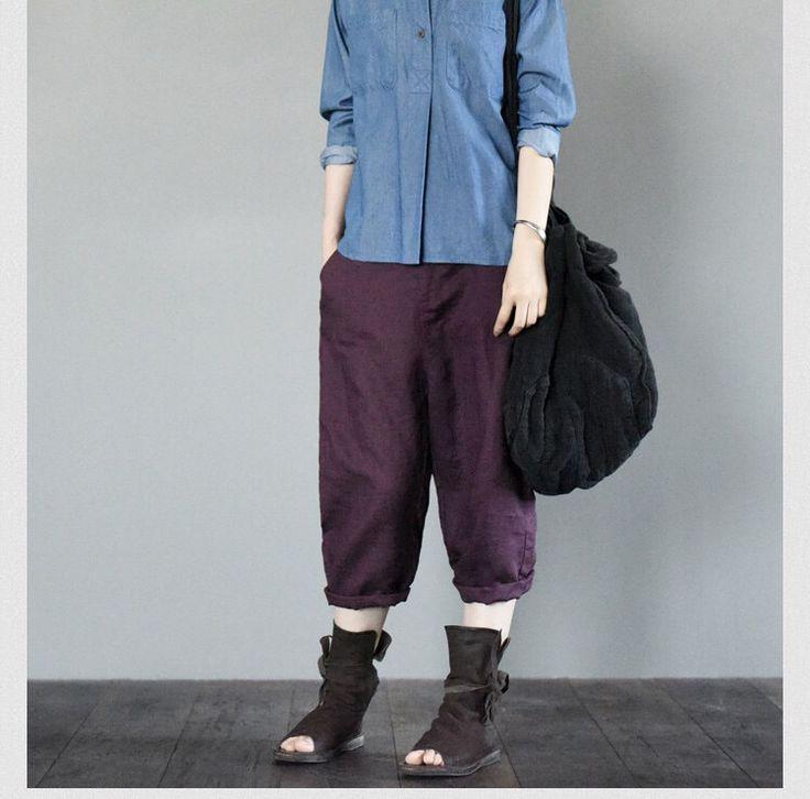 Purple pants women trousers summer