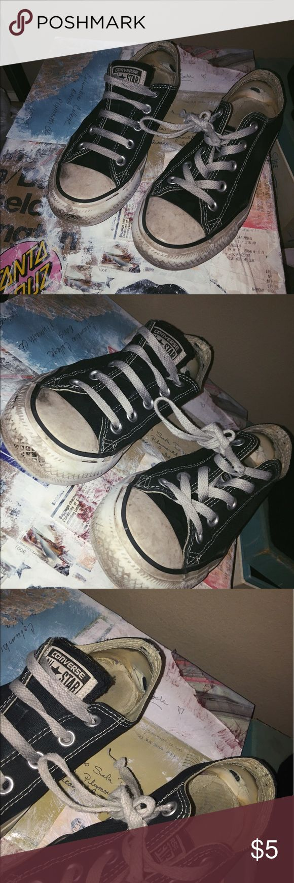 worn black low top converse size 6 pretty worn converse! black low tops size 6. reasonable offers are welcome Converse Shoes Sneakers