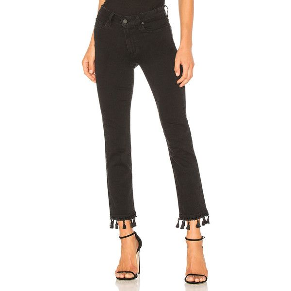 PAIGE Jacqueline Straight (302 AUD) ❤ liked on Polyvore featuring jeans, straight leg jeans, embroidery jeans, frayed hem jeans, paige denim jeans and paige denim