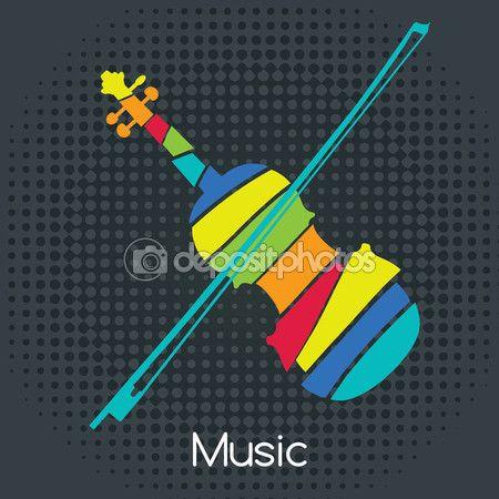 Акустический ретро скрипка, векторные иллюстрации. Музыкальные символы для дизайн плаката. Цветные музыкальный инструмент векторная графика