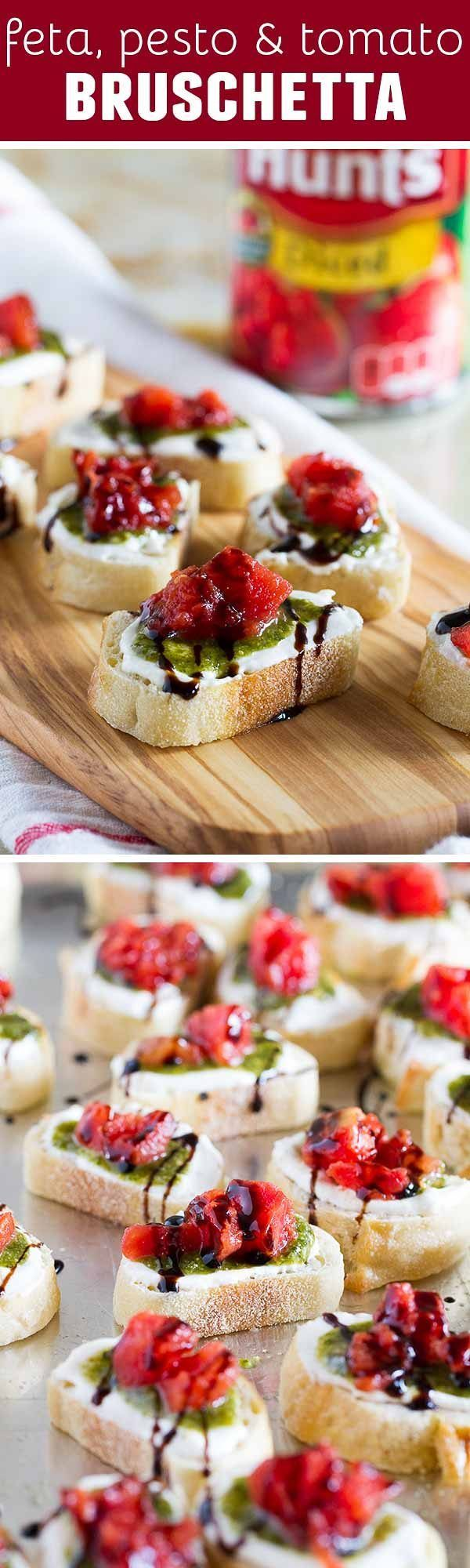 A true crowd pleasing appetizer, this Feta, Pesto and Tomato Bruschetta is a tasty appetizer that can be served year round. Perfect as a starter or as a holiday party appetizer.