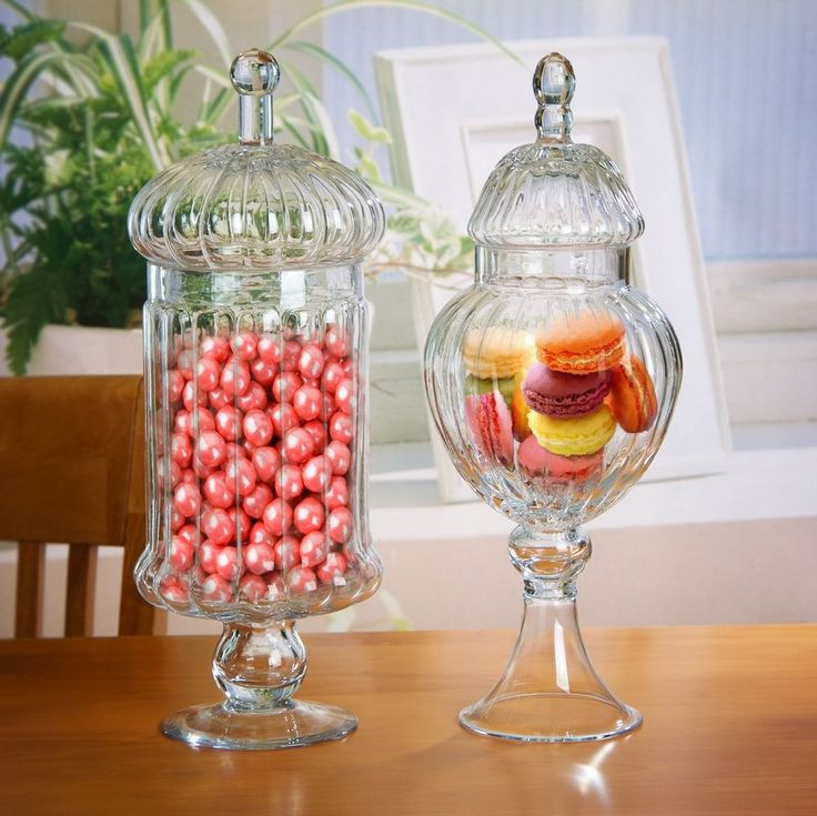 Set of 2 Clear Glass Ribbed Apothecary Jars / Kitchen Food Storage Jars / Can...