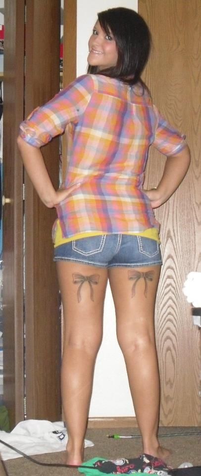 Bow ties on my back legs tattoos piercings pinterest for Tattoos on back of thighs