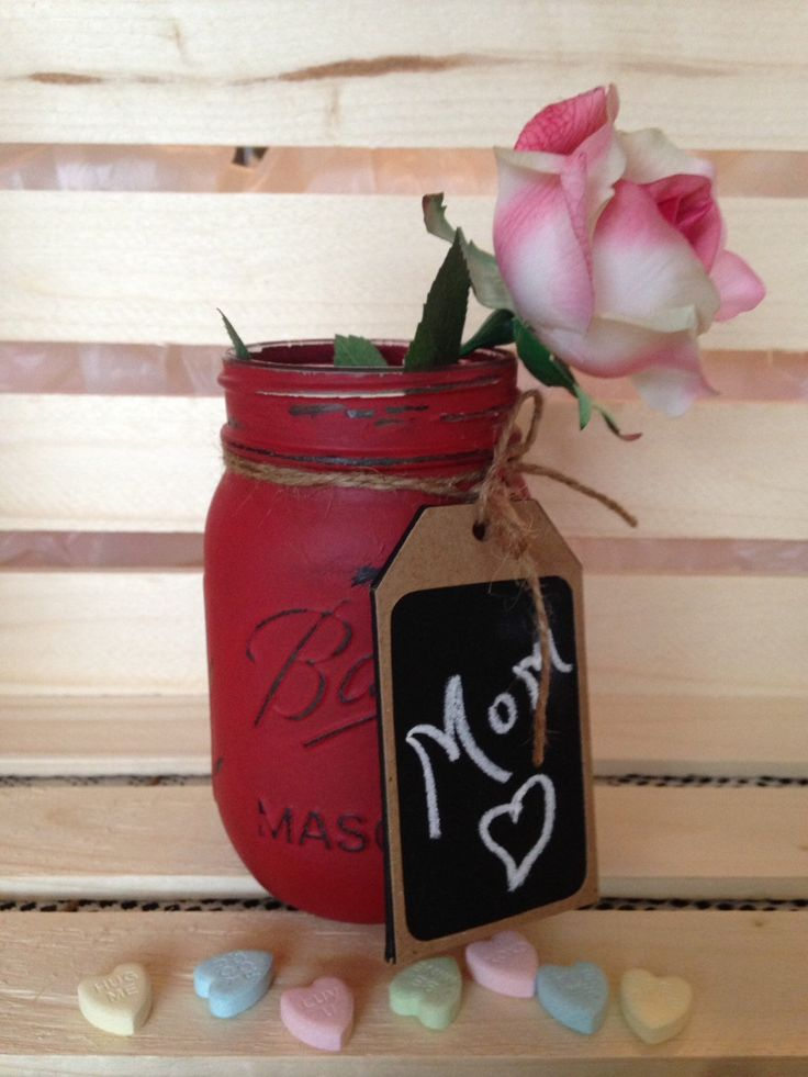 Valentine Mason Jar. Painted Mason Jar. Valentine Gift. Mothers Day Gift. Teachers Gift. Vase. Candy Jar. Customizable. by WineCountryAccents on Etsy