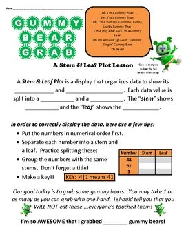 This is a 2 page stem and leaf activity that has students collecting data from gummy bears and creating their own plots.  There is a link to the Gu...
