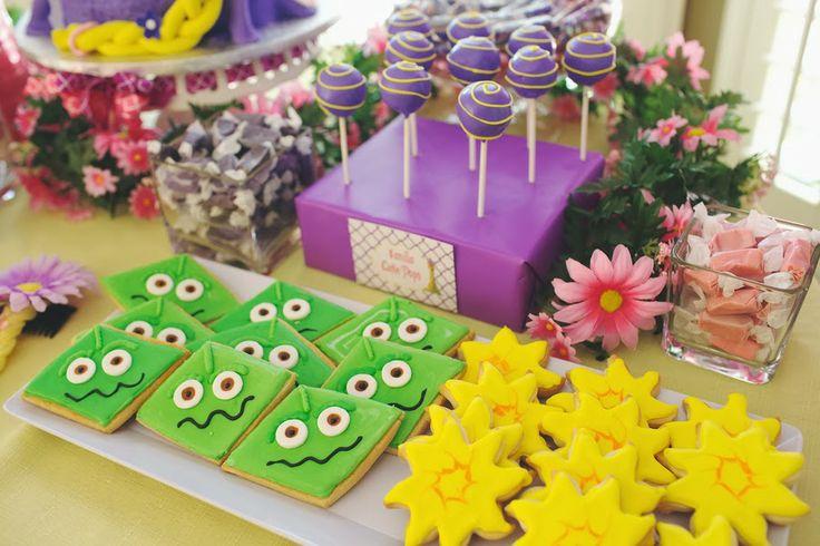 Tangled Birthday Party. TERRIFIC TANGLED PARTY - Renee Marie [PHOTOGRAPHY], www.reneemariepho..., Bay Area Photographer, CA Photographer, Event Photographer, Bay Area Event Photography, Child photographer, Family Photographer. Disney Girl Party, Girls's Birthday. Rapunzel cookies, cookies, cake pops, rapunzel cake pops.