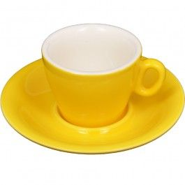Javan Melon Yellow Flat White Cup and Saucer 160ml - Coffee Cups - Cafe Supplies