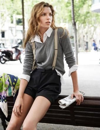 ←how to wear suspenders for women Beige suspenders with grey shorts and jumperis absolutely feminine and sexy way to focus on men's