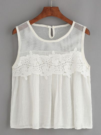 White Mesh Neck Crochet Applique Tank Top.