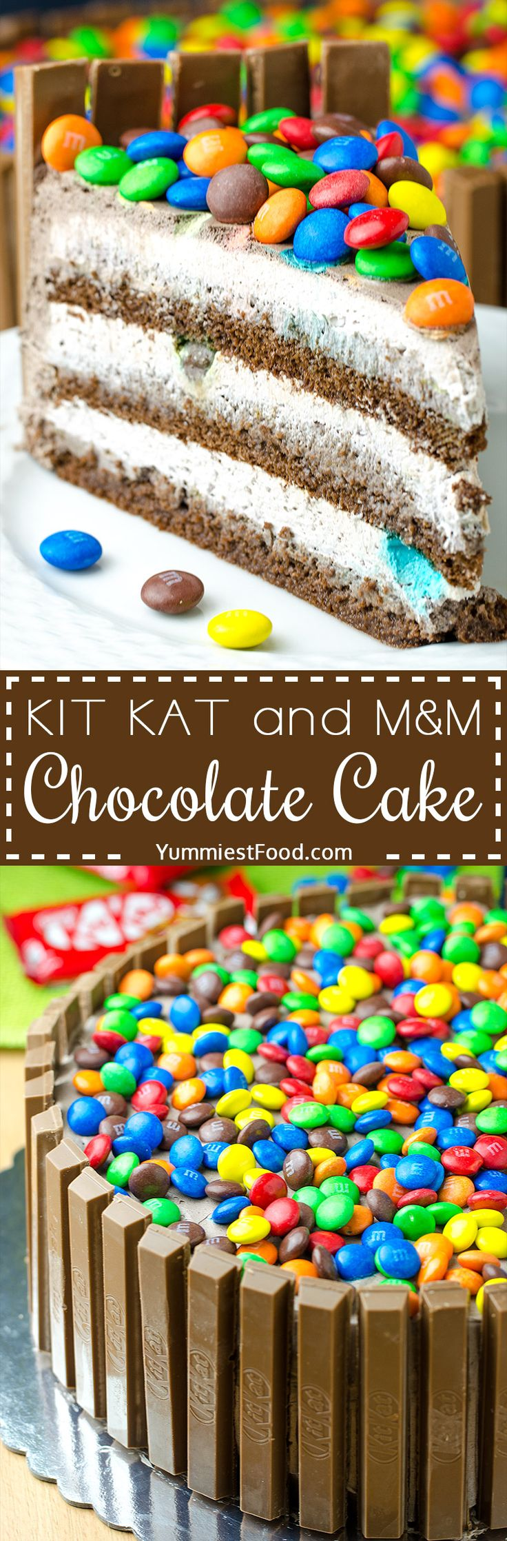 KIT KAT and M&M chocolate cake with peanut butter frosting - Fun to make and party to eat! This cake is so good and easy to make. Perfect for birthdays and other celebrations!