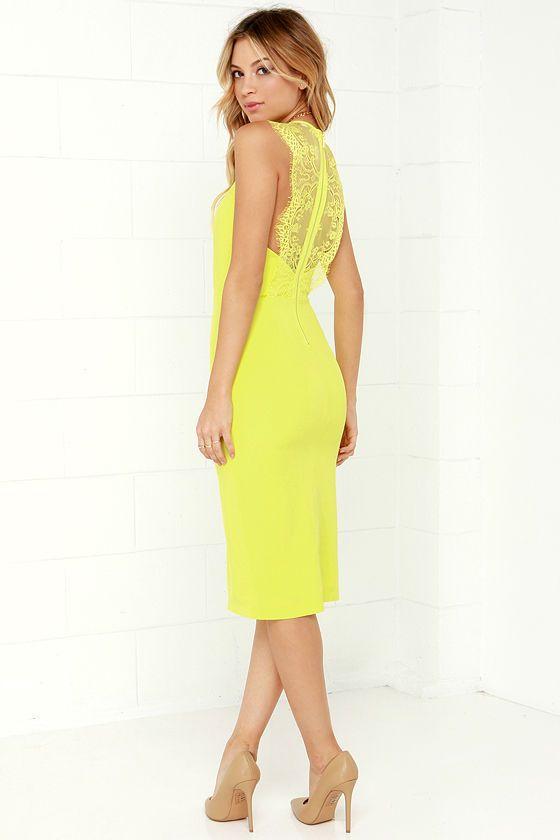 Ready Set Chartreuse Lace Midi Dress Yellow Lace Lace