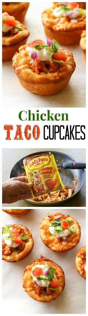 Chicken Taco Cupcakes - biscuits filled with taco chicken, cheese, and all your taco fixings. the-girl-who-ate-everything.com