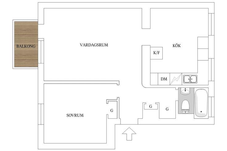Planritning. Boråsvägen 11, 2tr - Bjurfors