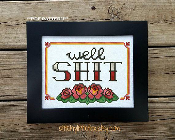 Swear Word Cross Stitch Pattern Adult Embroidery Tattoo