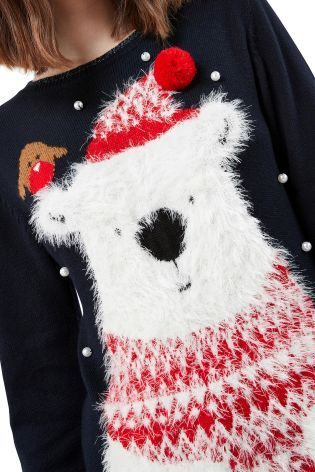 Buy Navy Christmas Polar Bear Jumper from Next Norway