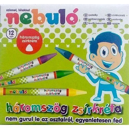Nebuló színes háromszög alakú zsírkréta készlet 12 darabos