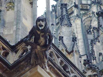 Many medieval cathedrals included gargoyles and chimeras. The most famous examples are those of Notre Dame de Paris. Although most have grotesque features, the term gargoyle has come to include all types of images. Some gargoyles were depicted as monks, or combinations of real animals and people, many of which were humorous.