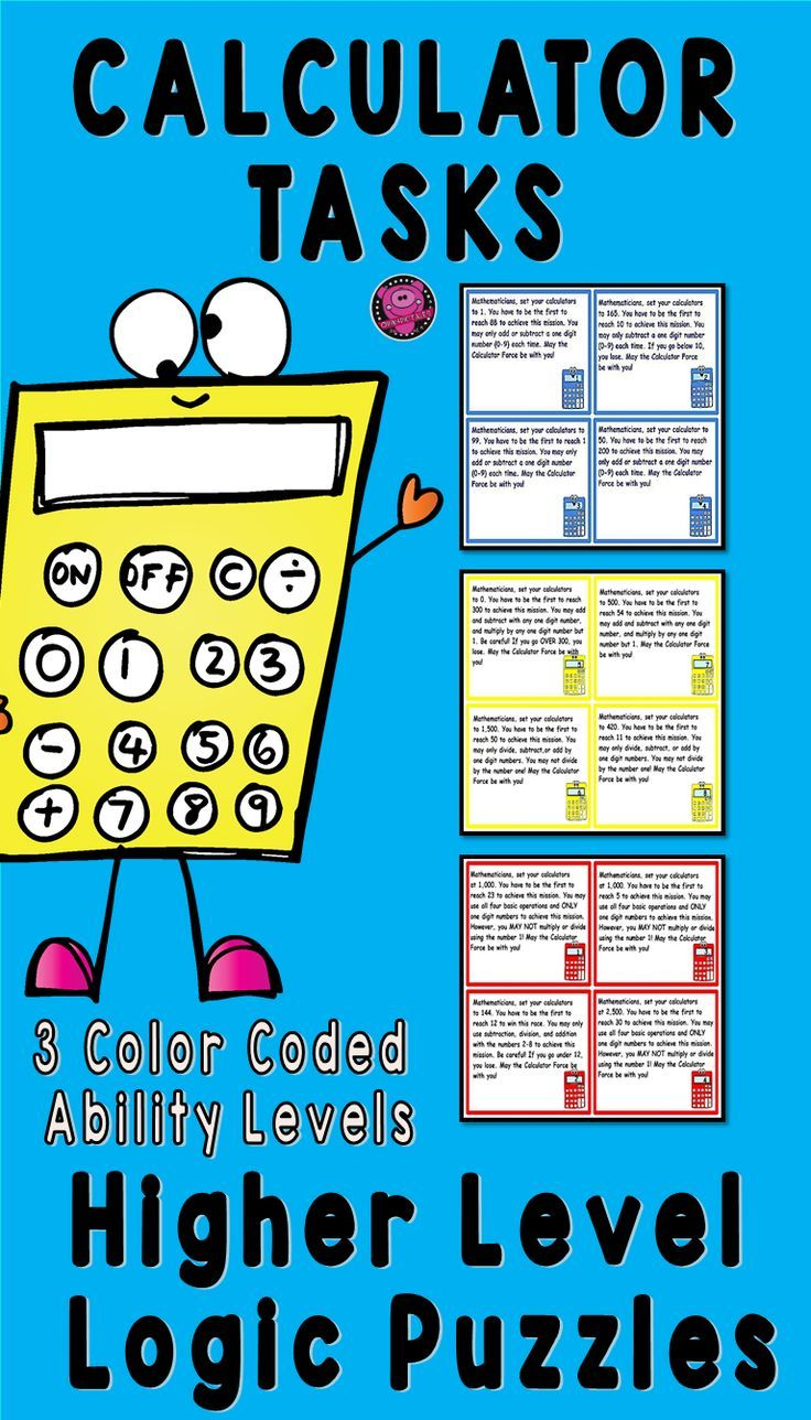Brain Teaser and Logic Puzzles Differentiated Math Calculator Tasks ...