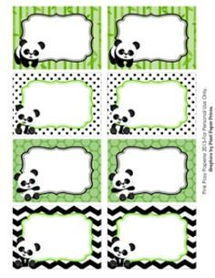 "These sweet labels are great for decorating your classroom in a panda theme. Use them as name tags or to label bins, lockers, book baskets and folders.   The labels measure 3 1/2 x 2 1/2 inches. They are blank and are not editable.  Labels can be printed on 8 1/2"" x 11"" white heavy cardstock or full sheet label paper."