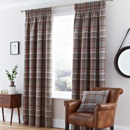 Dunelm Hoxton Lined Pencil Pleat Curtains in Rust Orange (117cm x 137cm)