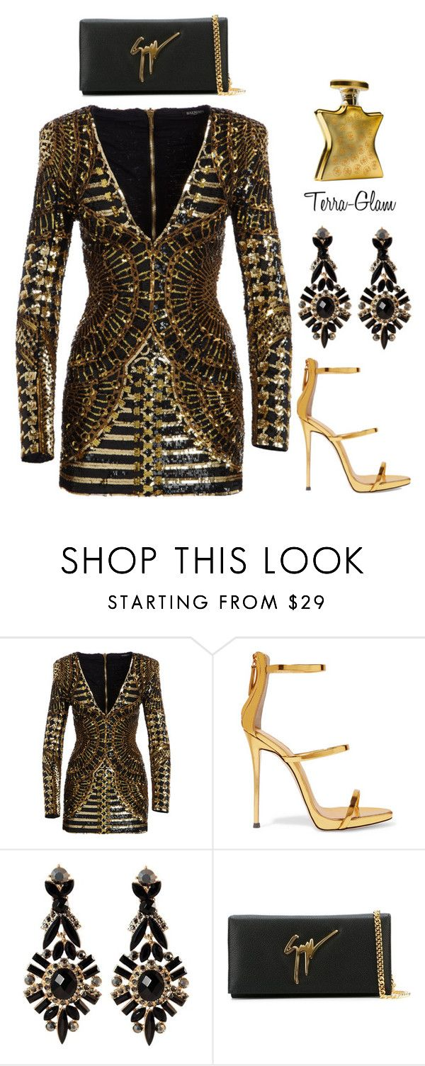 """SLAYonce!"" by terra-glam ❤ liked on Polyvore featuring Balmain, Giuseppe Zanotti and Bond No. 9"