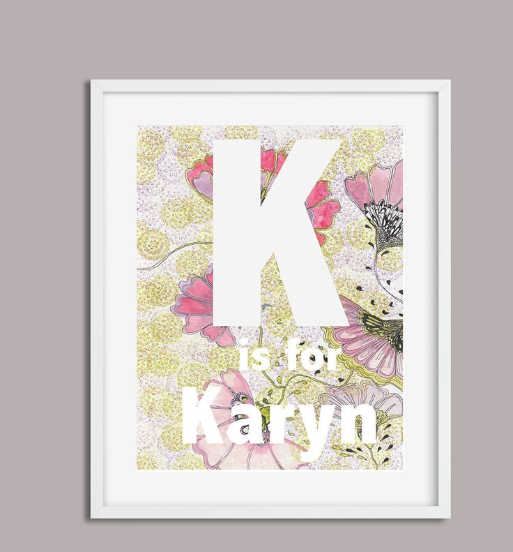K is for Karyn, Digital Download, The Letter K, Your Childs Name, Monogram, Print Letters and Name, Nursery Art, Nursery Name Poster A4, by PaperJamink on Etsy