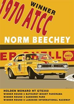 Holden Monaro HT GT 350, NORM BEECHY (Poster).  v@e.