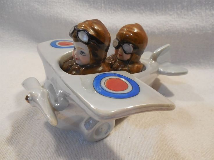Vintage Japan Ceramic Airplane with Pilot Co-Pilot Salt & Pepper Shakers   eBay