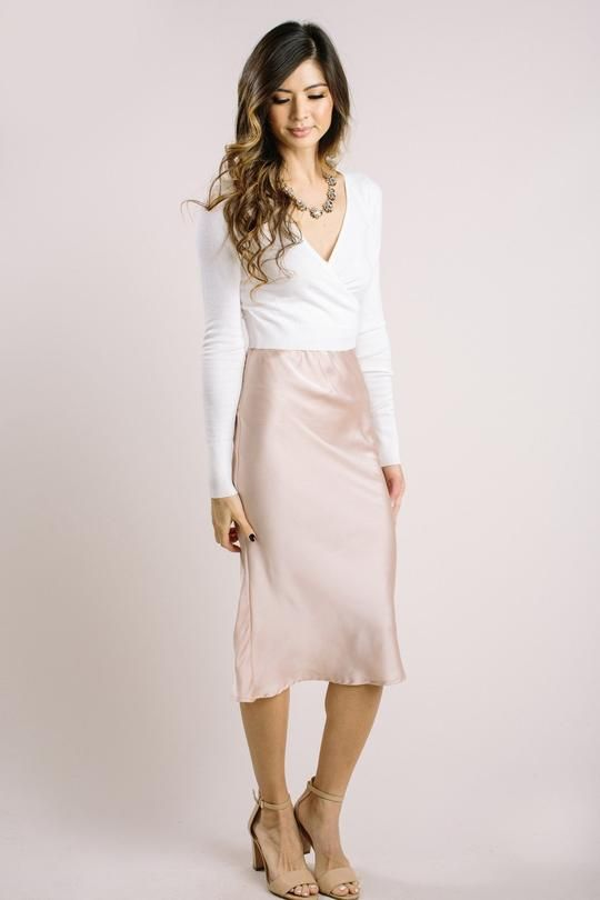 e3f35cff132a6 Shop the Chelsea Satin Midi Skirt - boutique clothing featuring fresh
