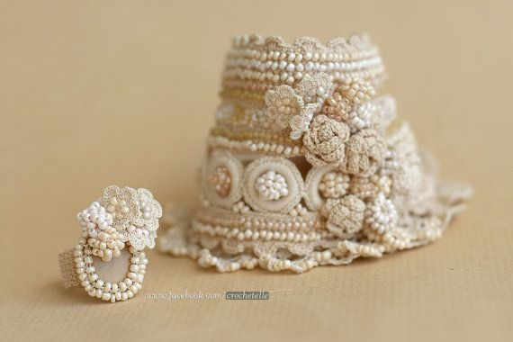 Crochet cuff and crochet ring in cream color by ellisaveta on Etsy
