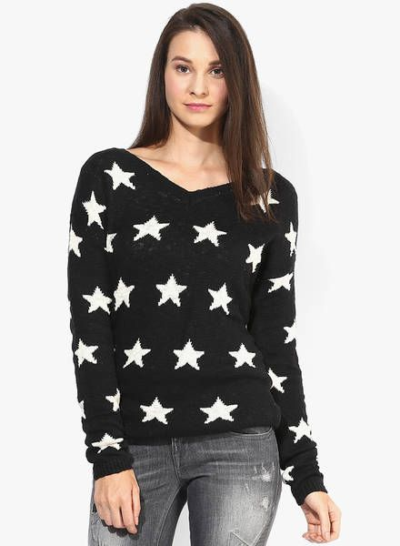 Buy Fox Black Printed Sweater for Women Online India, Best Prices, Reviews  | FO821WA51NDKINDFAS