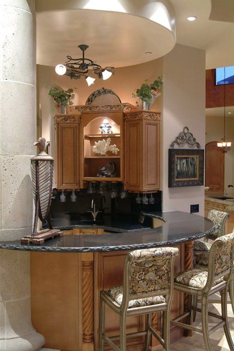 This Curvilinear Wet Bar Features Absolute Black Granite Countertop With Chiseled  Edges[C] Matching V[D]groove Sink[C] Complementary Faucet And Bar ...