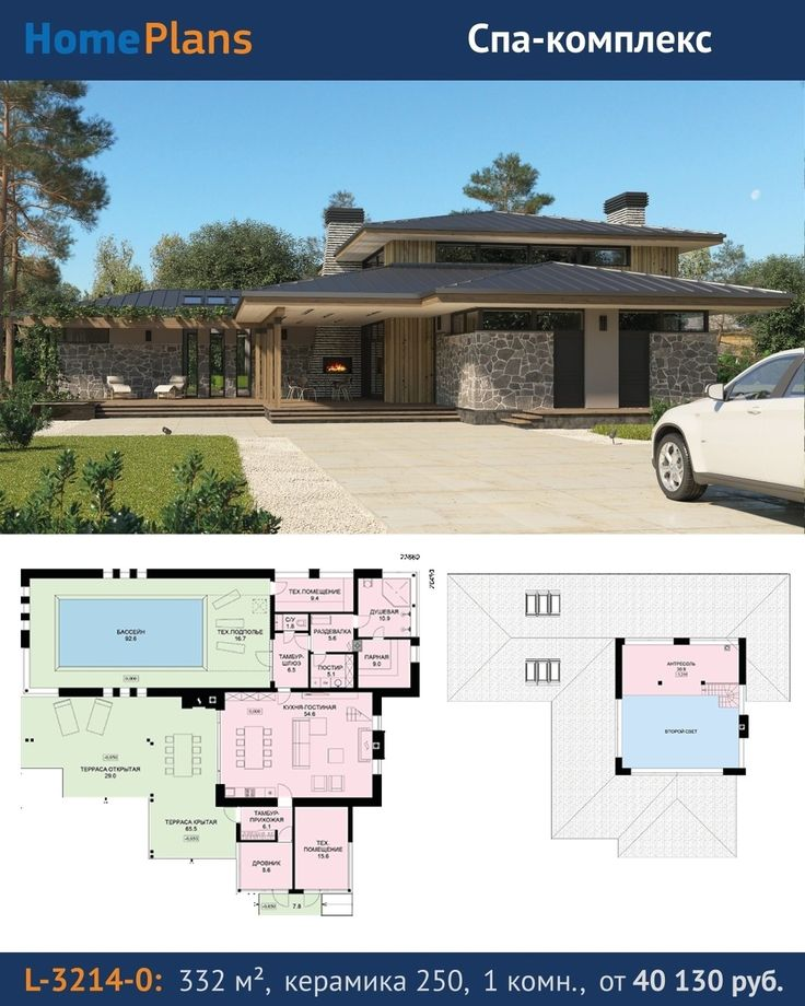 Проект L-3214-0.  Интересный трехчастный объем с малоскатными вальмовыми крышами крытыми и открытыми террасами создает образ раскидистого стелящегося по участку дома. Предусмотрены общая гостиная зона бассейн с баней и техническая зона. Панорамные раздвижные двери из гостиной на террасу позволяют в теплое время года интегрировать внутренние пространства с уличными. Гостиная имеет видовую открытую лестницу и балкон-антресоль который можно использовать в качестве гостевой спальни или…