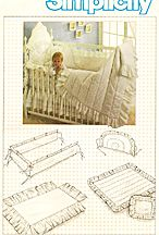 Simplicity #6717. Baby crib accessories, includes dust ruffle, quilt, headboard, bumpers, and pillow cover. Envelope has some age wear, but is in excellent condition. (See website for more details. Pattern shown may not be available if it sold.)