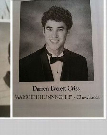 It's cool it's Darren Criss and all, but the fact ANYONE put that as their grad quote is friggin' brilliant (and I'm a wee bit jealous I never thought of it)!!!