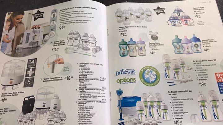 So I happened to be having a look through your 2017 baby brochure. And I have to say I'm appalled. Why? Well on every page you are promoting bottle and formula feeding. From perfect prep machines to bottles, and including a handy tip guide on Bottle feeding.  I Breastfeed my daughter and I'm exceptionally proud of that, I also have friends who bottle feed and I have no issues with the choices they make and using bottles or formula. What I do have problems with is your Blatant promotion of…